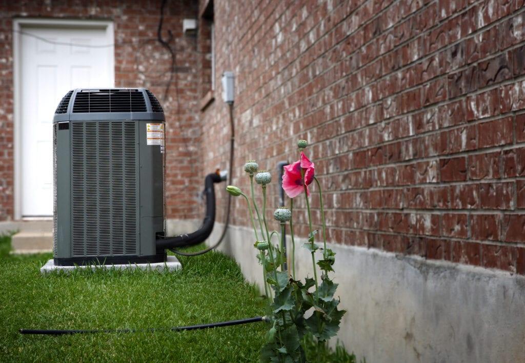 """High efficiency modern AC-heater unit, energy save solution on backyard"""