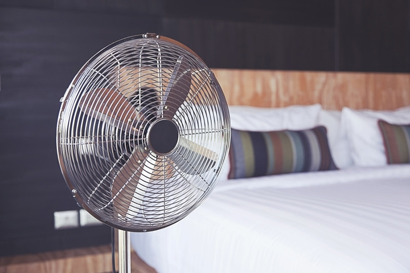 Electric Fan in a bedroom improving indoor air quality