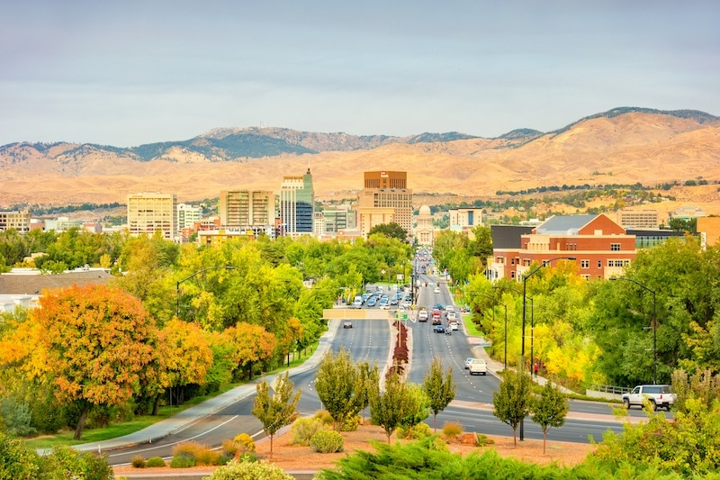 Stock photograph of downtown Boise Idaho USA on a sunny autumn day.